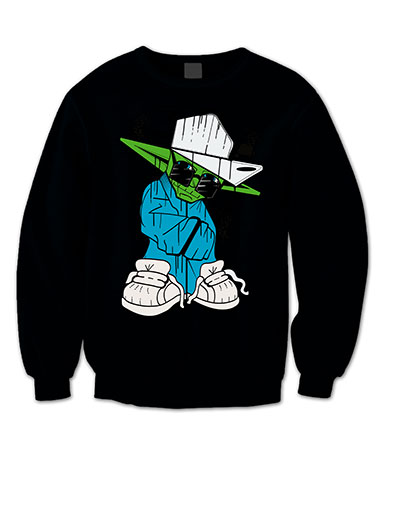 Custom Print Yoda-jumper-black